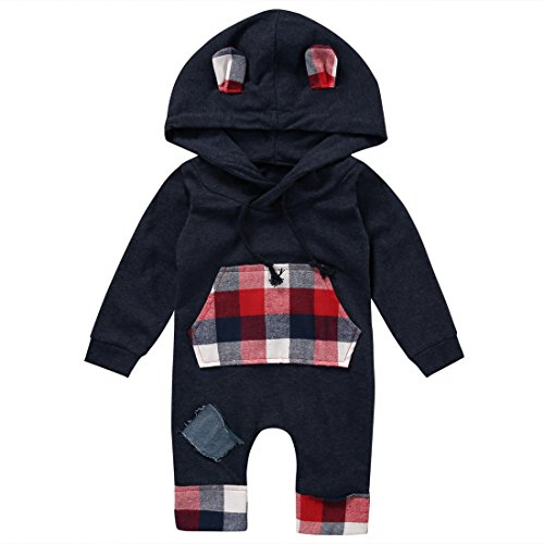 Grau Sweatsuit (Nansiche Baby Jungen Mädchen Plaid Overall Hoodie Strampler Outfit Langarm Sweatsuit Kleidung (0-6 Monate, Grau))