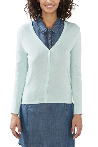 ESPRIT Damen Strickjacke 017EE1I017 Grün (Light Aqua Green 390), 36 (Herstellergröße: S) (Aqua-strickjacke)