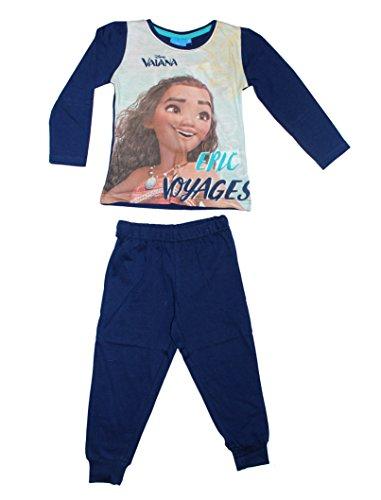 Disney Vaiana Moana Mädchen Schlafanzug Pyjamas Lang (110, Dunkelblau)