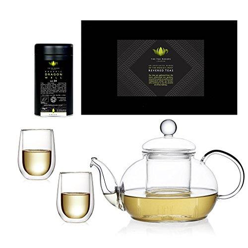 The Tea Makers of London Coffret cadeau avec théière en verre et thé vert Dragon Well Lung Ching bio 100 g