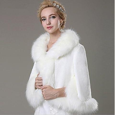Invierno nueva novia boda vestido puro pelo blanco de manga larga cuello de la boda chal