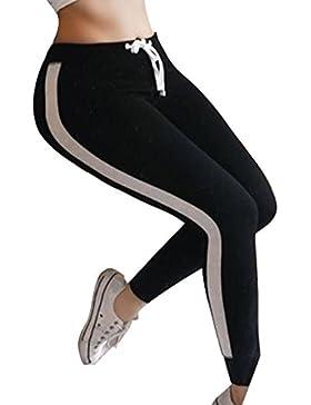 Pantalones Largo para Mujer, Moda Cintura Alta Slim Pantalon a Rayas Cómodo Cintura Elástica Casual Pantalones...