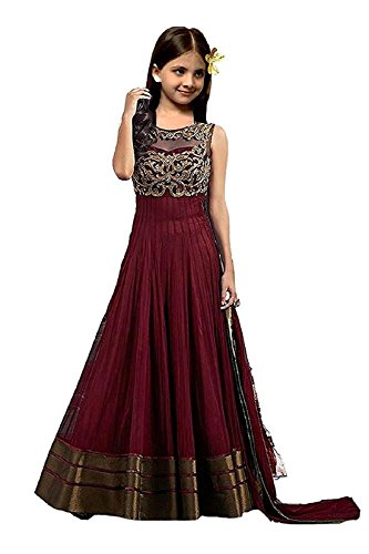Fashion Vogue Stylish Semi-Stitched Party Wear Dress material baby girl -moroon color (Baby _ Girl\'s_7-12 years)
