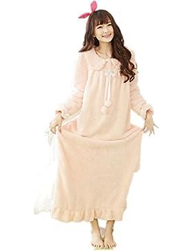DMMSS Donne corallo del panno morbido accappatoio Robe imbottito caldo pigiama manica lunga camicia da notte ,...