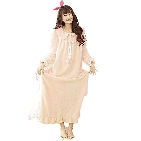 DMMSS Frauen Coral Fleece Bademantel Robe gepolsterte warmen Schlafanzug Langarm Nachthemd , pink , (Weiche Womens Chemise)