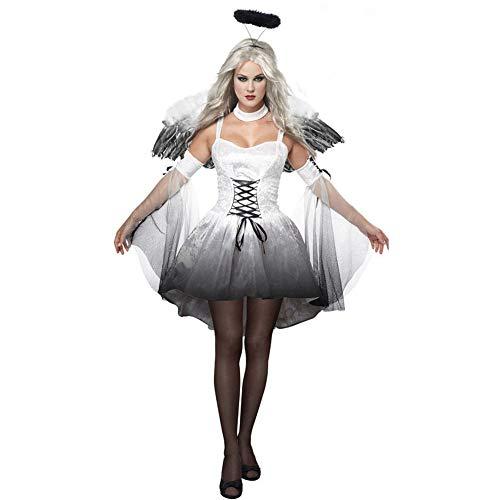 NFY Halloween Damen Kostüm Dunkler Engel Kleid Geeignet Kleiderparty Fasching Karneval,M