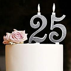 Idea Regalo - Candeline Maxi 25 Anni di Matrimonio Festa Compleanno 25 Anni | Decorazioni Candele per Torta Anniversario Auguri Torta 25 | Festa a Tema | Altezza 13 CM Argento Glitter