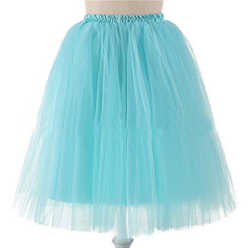 Honeystore Damen's 5 Layer Knielanger Rock Elastic Bund Tutu Prinzessin Tütü Tutu Petticoat Ballettrock One Size Hellblau (Barbie Kostüm Selbstgemacht)