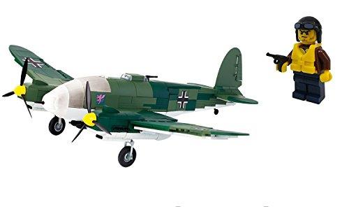 Bausteine Flugzeug Deutscher Bomber Heinkel He 111 inkl. Custom Minifigur Pilot #5534 (Ww2-flugzeug Spielzeug)