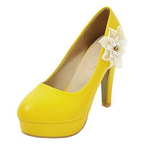 COOLCEPT Damen Mode Slip On Pumps Blockabsatz Geschlossene Plateau Schuhe Mit Blume Gr Gelb