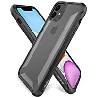 ProCase iPhone 11 Case Shockproof (6.1 inch, 2019 Release), Slim Hybrid Bumper Cover with Raised Lips Corner Protection, Matte Clear Back, Anti-Scratch Anti-Slip Anti-Shock Protective Case -Black