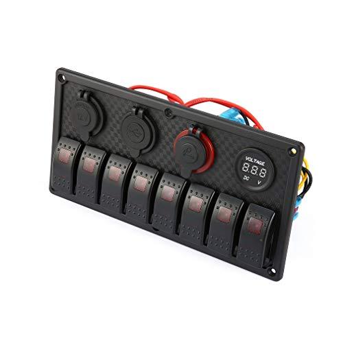 leoboone 8 Gang LED-Auto-Boot Rocker Switch Panel Dual USB Zigarettenanzünder-Voltmeter Auto-Auto-LED-Boot Switch Panel