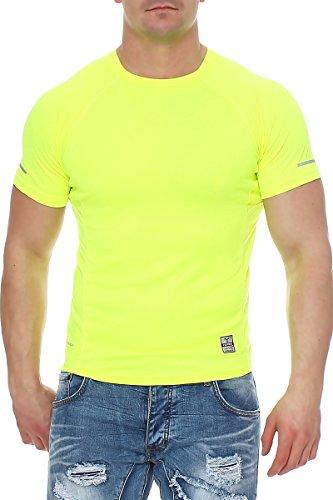 Happy Clothing Herren Sport T-Shirt kurzarm Trikot Sommer Funktionsshirt Fitness Top, Größe:XL, Farbe:Neongelb