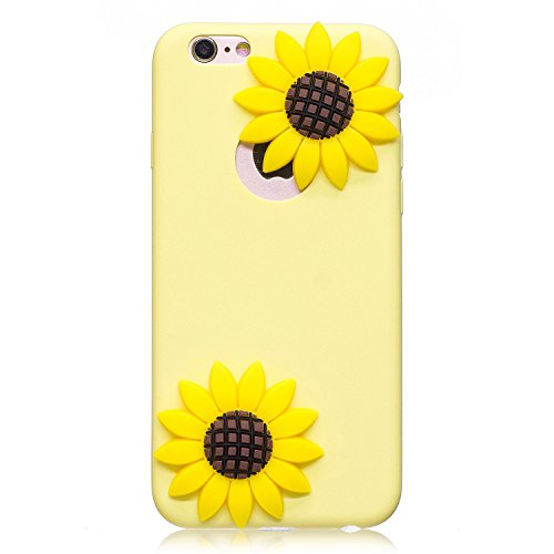 Coque iPhone 6 / 6S , Anfire Etui Coque TPU Slim Arrière pour Apple iPhone 6 / 6S (5.0 pouce) Souple Housse de Protection Flexible Soft Case Cas Couverture Anti Choc Mince Légère Silicone Cover Cartoo Jaune Tournesol