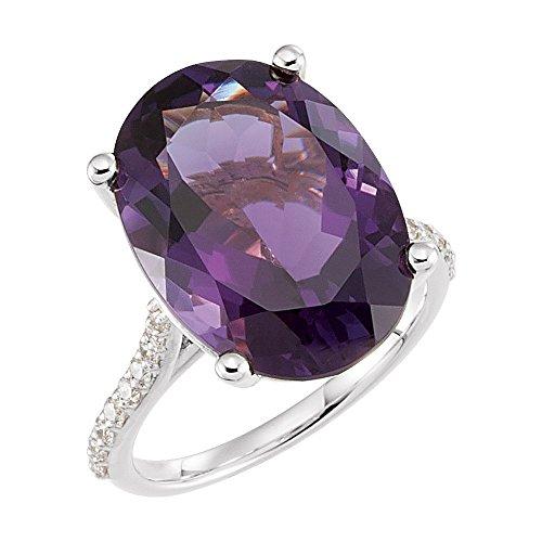 JewelryWeb Anillo de Oro Blanco de 14 Quilates, 18 x 13 mm, Amatista Pulido Gen Amatista y Diamante de 0,25 DWT, Talla M 1/2