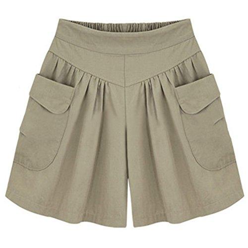 Damen Shorts Sommer Kurze Hosen High Waist Hot Pants Lose Beach Stoff Short Hosenrock Kurz