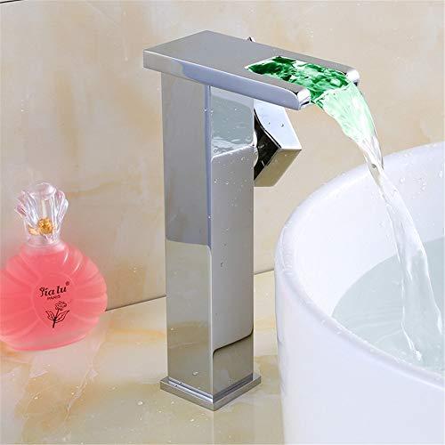 JONTON Wasserhahn LED-Licht Wasserhahn Kupfer Wasserfall Wasserhahn Waschbecken Wasserhahn Einzigen Loch Becken heißen und Kalten Wasserhahn