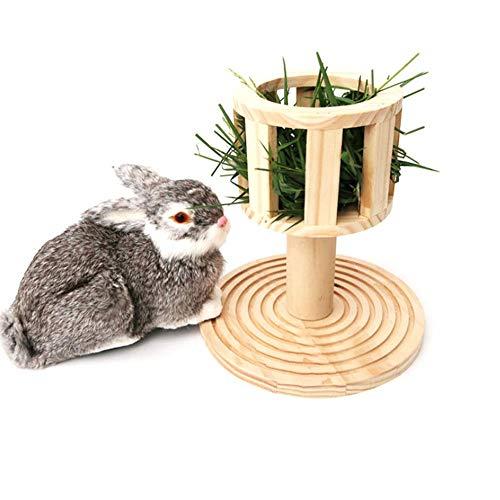 Roundhouly Heuraufe Futterbaum für Kaninchen Chinchilla Hamster Aufbewahrungskorb aus Holz Praktische Zufuhr Haustier Zubehör, 23 x 23 x 24 cm