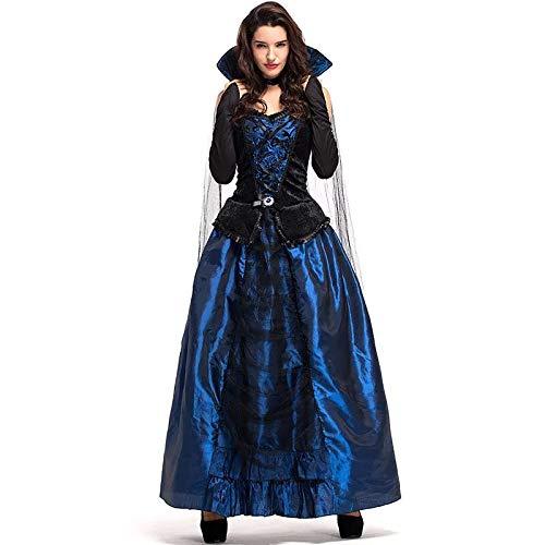 Kostüm Gothic Queen Vampir - FHSIANN Erwachsene Frauen Halloween Gericht Wizardress Evil Queen of Vampire Mittelalterlichen High StehkragenBlau Gothic Kleid Robe Kleid Für Damen