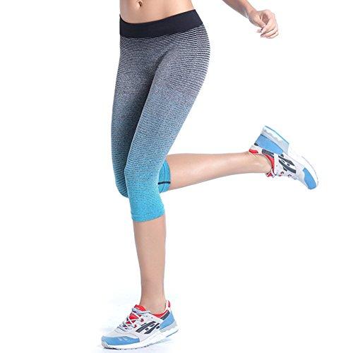 ESHOO Femme Corsaire Legging Yoga Exercise Pantalon 3 4 de Sports Recouvert Gym Workout Bleu