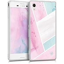 kwmobile Funda para Sony Xperia M4 Aqua - Case para móvil en TPU silicona - Cover trasero Diseño Superficie de acuarela en rosa claro menta blanco
