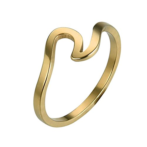 (Damen Verlobungsring Hochzeit Ringe Fashion Mingfa Lady Teen Mädchen Wave Ewigkeit Promise Ring Schmuck Geburtstag Party Geschenke, Legierung, Gold, 9)