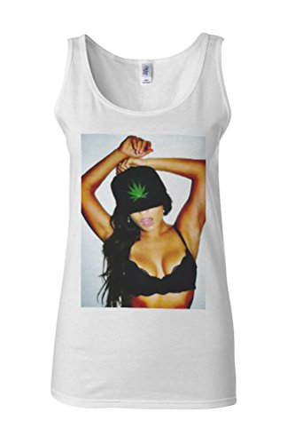 Sexy Weed Girl Marijuana Novelty White Femme Women Tricot de Corps Tank Top Vest **Blanc