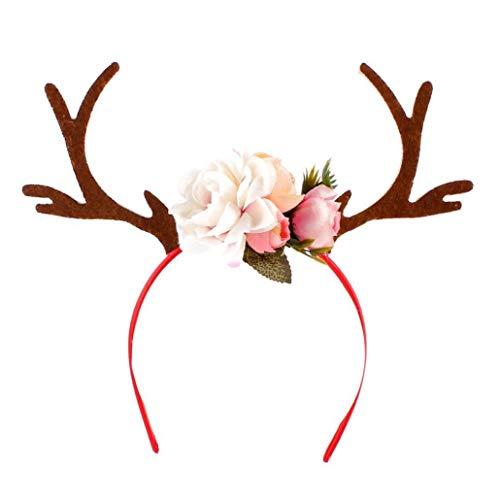 Vlugtxcj natale fascia elk antler capelli hoops partito dei capretti del cerchio dei capelli decorazione di natale cerchi capi del festival puntelli bianco