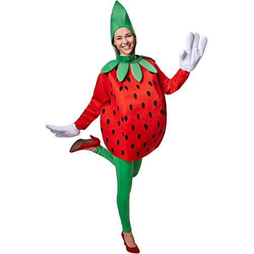 Erdbeer Süße Kostüm - TecTake dressforfun Kostüm Erdbeere Erdbeerenkostüm | Süßes Langarm-Oberteil | Große, lustige Handschuhe | Inkl. witziger Kopfbedeckung (L | Nr. 301641)