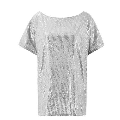 YEZIJIANG Damen Shimmer Glam Pailletten verziert Sparkle T-Shirt Kurzarm Schulterfrei Oberteil Tops Sommer Shirt Rundhals Einfarbig Bluse -