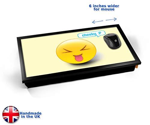Cheeky Emoticon Emoji Cushioned Bean Bag Laptop Lap Tray Desk - Built-in EMF Shield (Electro...