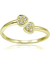 18K Gold Over Sterling Silver CZ Double Heart Toe Ring