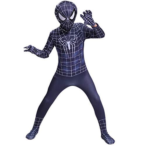 YUNMO Spider-Man-Kostüm Schwarzes Spiderman-Kostüm - Unisex Second Skin Outfit mit Kleidung (größe : 140)