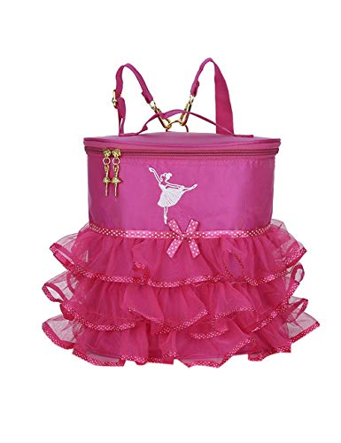 KRUIHAN Kinder Mädchen Tanztasche Ballett - Tragbar Handtasche Ballerina Tanzen Rucksack Stickerei Mode Kleine Prinzessin Sportrucksack Rose Rot
