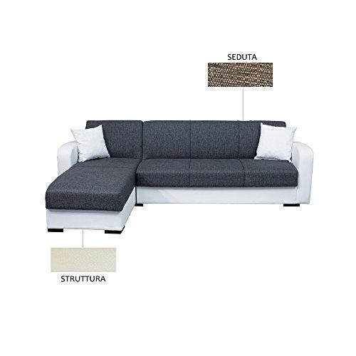 Webmarketpoint divano letto con penisola crema e marrone c/contenitore 260x160xh.82cm