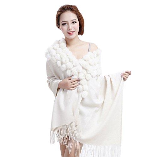 MEEFUR Sciarpe di pelliccia del coniglio della grande sciarpa delle donne  Real avvolge di lana bianco 1580d67b3dc