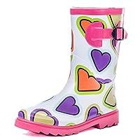 SPYLOVEBUY Kids Girls Boys Flat Festival Wellies Rain Boots White Heart Kids Sz 3