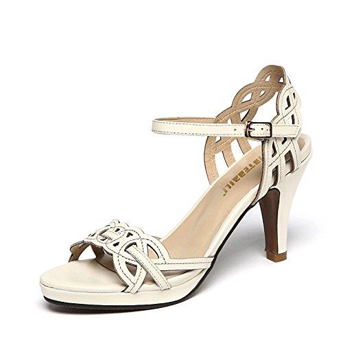 XY&GKEchtes Leder Stiletto's Sandalen Frauen Sommer Sommer Stiletto Heel Heel Sandalen, komfortabel und schön 38 meters white