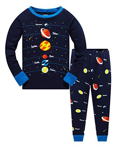 Popshion pigiama da bambino, 100% cotone, motivo: dinosauro pigiama a maniche lunghe, abbigliamento per bambini da 1 a 10 anni planet print 7-8 anni vecchio