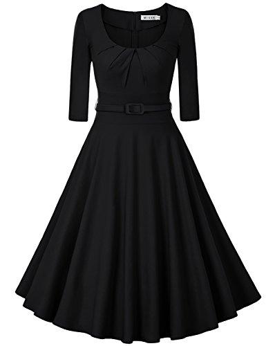 MUXXN Damen Retro 3/4 Arm Rockabilly Cocktailkleider Freizeit Swing Kleid Vintage Ballkleid(S, (Swing 1940 Kostüm)