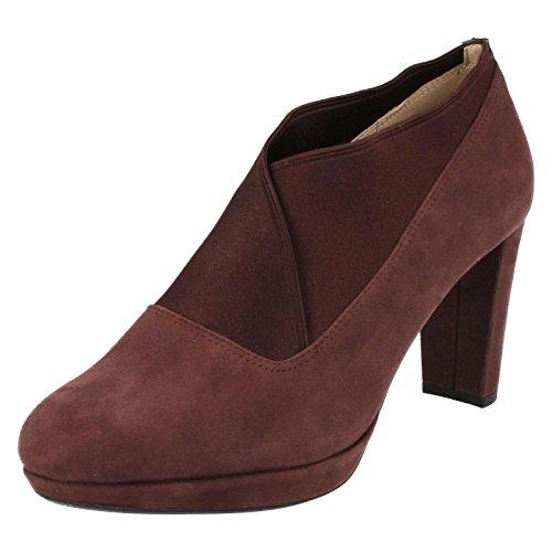 Clarks Détente Habillé Femme Chaussures Kendra Mix En Daim Violet Aubergine Suede