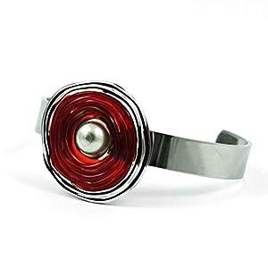 Edelstahl-Armreif in Rot aus Murano-Glas | Glas-Wechsel-Schmuck | Unikat handmade handgemacht | Personalisiertes Geschenk für sie zu Valentinstag Jahrestag Hochzeit Geburtstag Weihnachten Mama