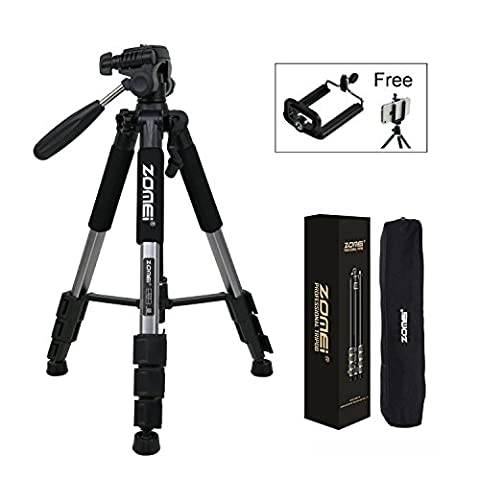 Zomei Q111 Protable 55in Pro Aluminium Compact Lightweight Camera Tripod with Pan Head and Quick Release Plate for Digital SLR Canon EOS Nikon Sony Panasonic Samsung (Silver)