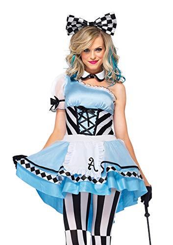 Leg Avenue 85225 - Psychedelic Alice Kostüm Set, 3-teilig, Größe M, blau/weiß,  Damen Karneval Fasching