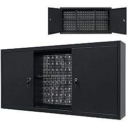 vidaXL Armario de Pared 120x19x60 cm Negro Herramientas Almacén Garaje Taller