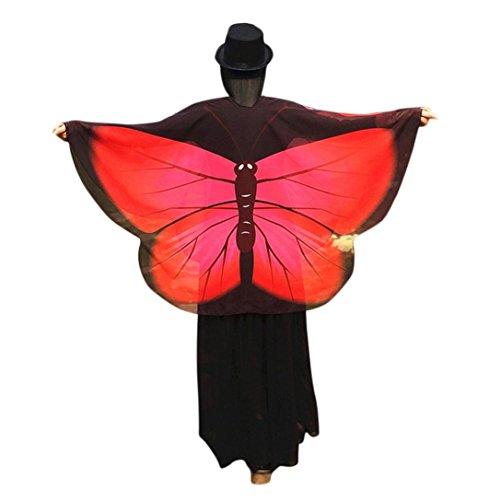 Schmetterling Kostüm, Dasongff Damen Schmetterlingsflügel Schal Lose Umhang Kimono Strickjacke Top Shirt Bluse Fasching Halloween Cosplay Kostüm Schal Cape Tuch (160 * 140 cm, Rot)