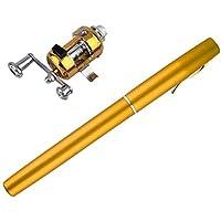 Diseño único caña de Pescar portátil Mini caña de Pescar aleación de Aluminio Forma de Pluma caña de Pescar con Carrete Rueda 6 Colores - Oro