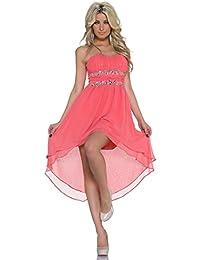 Fashion4Young Damen Vokuhila-Minikleid Kleid Chiffon Abendkleid dress verfügbar 2 Farben 3 Größen
