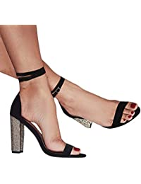 Minetom Sandali Donna Scarpe da Spiaggia Estate Moda Partito Sandalo Sexy  Eleganti Peep Toe Bling Diamante Tacco Alto Casuale con Cinturino… 0b947564f65