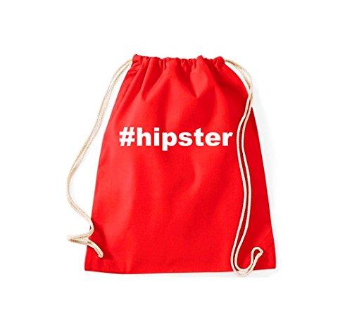 Turnbeutel #hipster Hashtag Gymsack Kultsack Rot